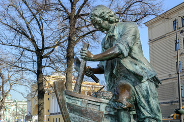 """Monument to Peter the Great """"King carpenter"""" in Saint-Petersburg"""