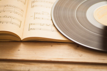 Music scores and vinyl record music background