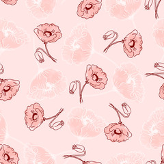 pattern of beautiful poppy flowers