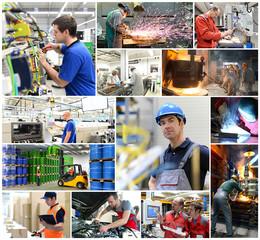 Arbeiter in der Industrie, Auswahl als Collage