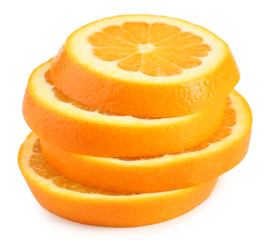 Juicy slices of orange isolated on white