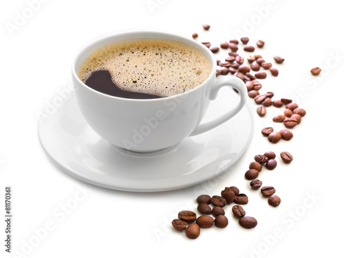 Fotobehang Koffie Cup of coffee isolated on white