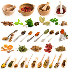 Collage of photos of different spices