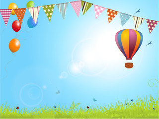spring landscape with air balloon and bunting