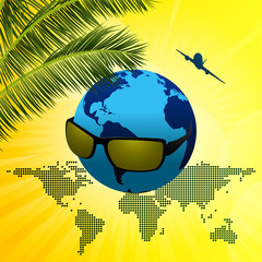 Planet Earth with sunglasses on summer background