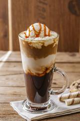 iced coffee with milk and caramel ice cream