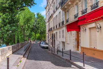 Typical quiet street in paris, France.