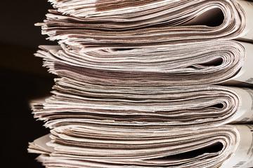 Pile of newspapers closeup