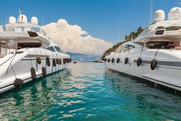 Luxury yacht in the bay of Portofino.