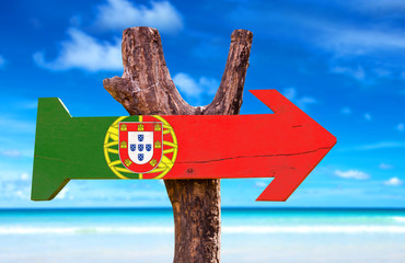 Portugal Flag sign with beach background