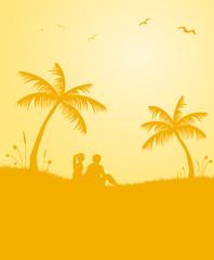 Liebespaar unter Palmen