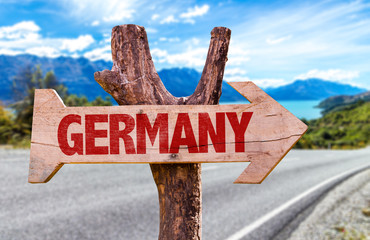 Germany sign with road background