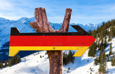 Germany Flag wooden sign with winter landscape