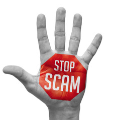 Stop Scam Concept on Open Hand.