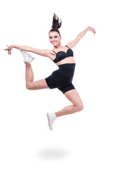 woman gymnast jumping, isolated on white
