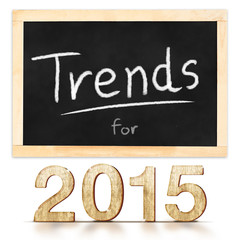 Trends for 2015 on blackboard in white background