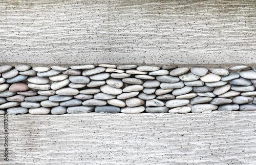 fototapeta na ścianę Warstwa mur z kamienia, kamyki i cementu, tło tekstury