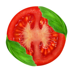 Fresh red tomato and basil leaves isolated on a white backround