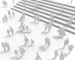 階段と人々