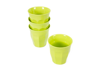 group of green glasses isolated