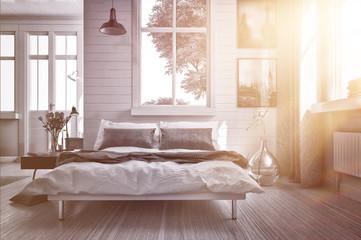Luxuriöses Schlafzimmer mit warmen Sonnenstrahl