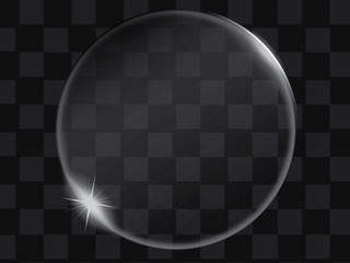 Vector transparent glass bubble or button