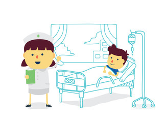 Nurse therapist with boy patient to recover quickly