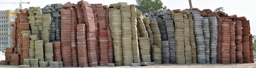 Apilated bricks of different sizes