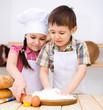 Children making bread