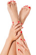 Woman with beautiful red finger and toenails - 81177566