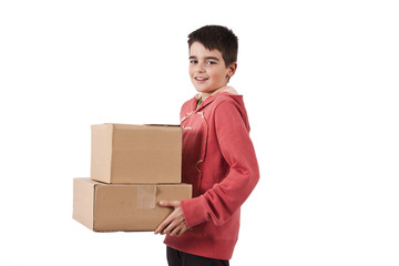 child with carton package isolated on white