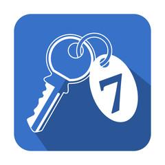 Icono cuadrado azul llave de hotel con sombra