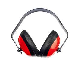 Protective headphones on white background