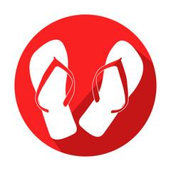 Icono redondo rojo chanclas con sombra