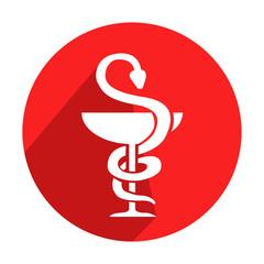 Icono redondo rojo farmacia con sombra
