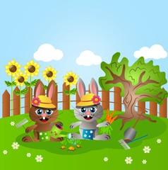 Rabbits gardening