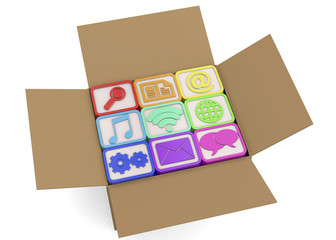 Computer icons in the box - 3D