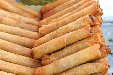Fried spring rolls in the market