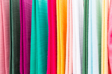 colorful textile at asian street market
