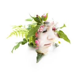 Mädechenportrait mit Pflanzen - Double Exposure