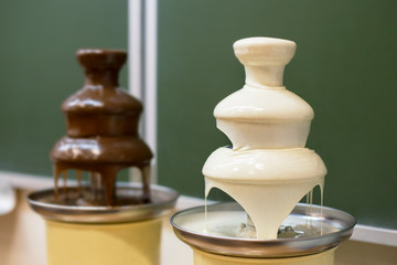 Two chocolate fountains
