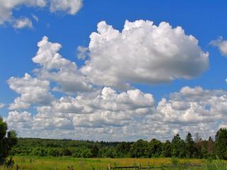 White cumulus clouds in the bright blue sky