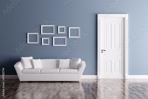 Interior with door and sofa - 81180794