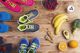 Fototapety Running shoes and healthy food composition