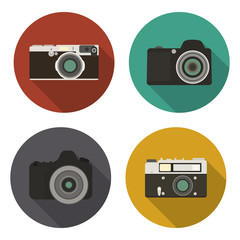 Camera icons set in flat style.