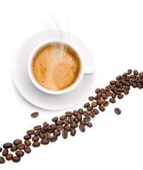 Kaffeetasse mit Kaffebohnen