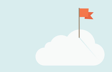 Red flag on top of the cloud.