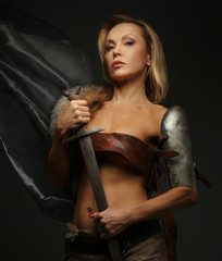 Middle age female holding sword