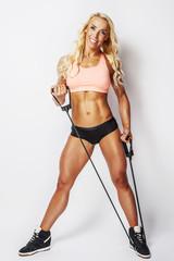 Beautiful blond woman in sportswear