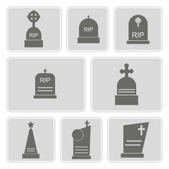 set of monochrome icons with grave for your design